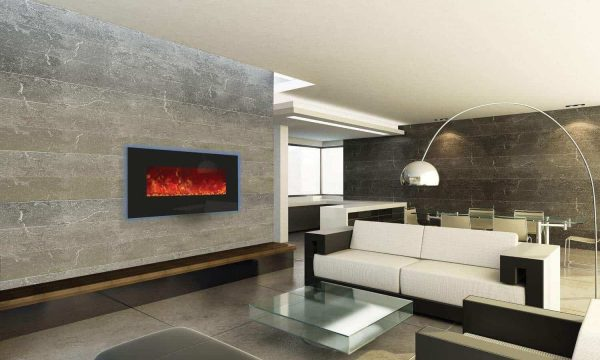 Amantii WM-BI-34-4423 34 In. Electric Fireplace With 44 x 23 In. Black Glass & Back Light 1