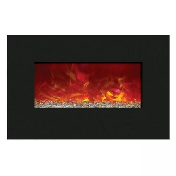 Amantii WM-BI-34-4423 34 In. Electric Fireplace With 44 x 23 In. Black Glass & Back Light