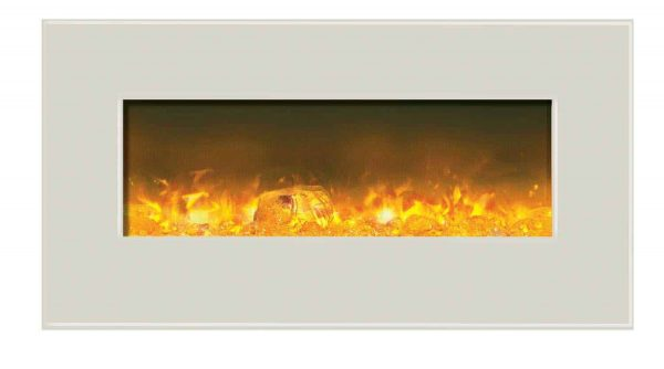 Amantii WM-BI-34-4423-WHTGLS 34 inch Electric Unit With 44 x 23 inch White Glass Surround 2