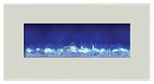Amantii WM-BI-34-4423-WHTGLS 34 inch Electric Unit With 44 x 23 inch White Glass Surround 3