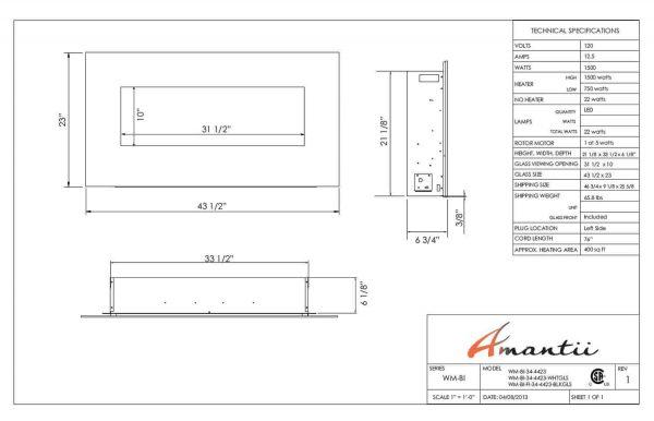 Amantii WM-BI-34-4423-WHTGLS 34 inch Electric Unit With 44 x 23 inch White Glass Surround 5