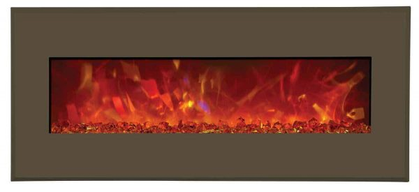 Amantii WM-BI-43-5123-MODERNAUBURN 43 In. Electric Fireplace With 51 x 23 In. Modern Auburn Steel Surround 1
