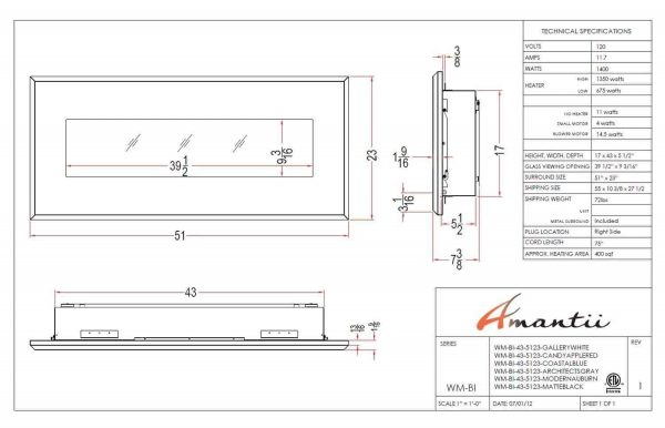 Amantii WM-BI-43-5123-MODERNAUBURN 43 In. Electric Fireplace With 51 x 23 In. Modern Auburn Steel Surround 2