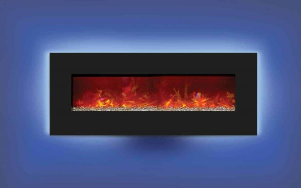 Amantii WM-BI-48-5823 48 In. Electric Fireplace With 58 x 23 In. Black Glass & Back Light 2