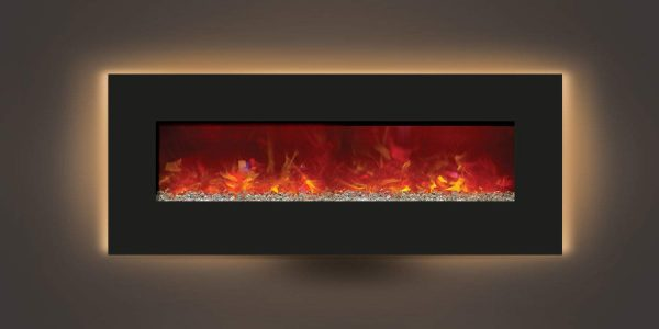 Amantii WM-BI-48-5823 48 In. Electric Fireplace With 58 x 23 In. Black Glass & Back Light 3