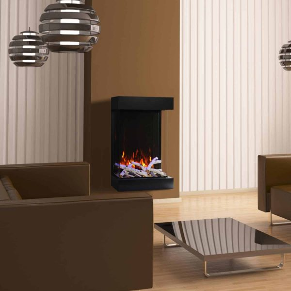 Amantii WM-BI-72-8123 72 In. Electric Fireplace With 81 x 23 In. Black Glass & Back Light 1
