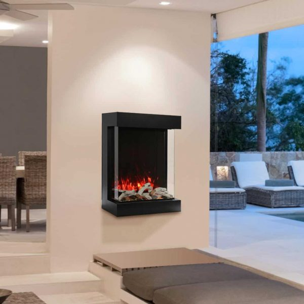 Amantii WM-BI-72-8123 72 In. Electric Fireplace With 81 x 23 In. Black Glass & Back Light 2