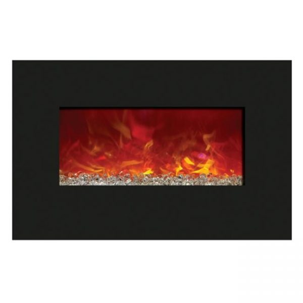 Amantii WM-BI-72-8123 72 In. Electric Fireplace With 81 x 23 In. Black Glass & Back Light