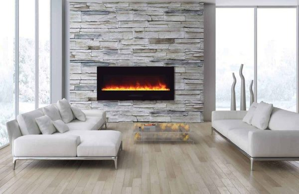 Amantii Wall Mount / Flush Mount Series Electric Fireplace with Log Set