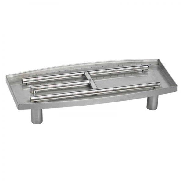 American Fireglass Stainless Steel Oval Fireplace Pan Burner 1