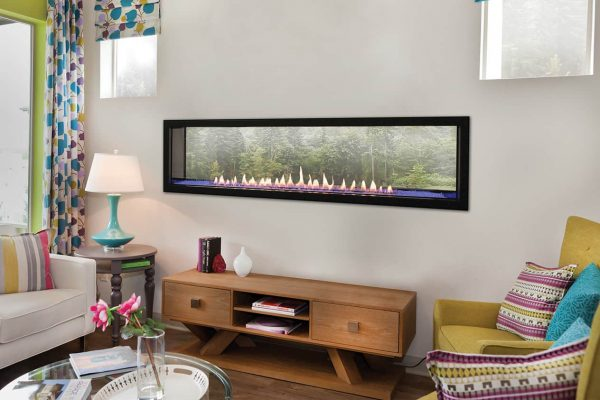 """American Hearth Boulevard 60"""" Linear See-Through Vent Free Fireplace"""