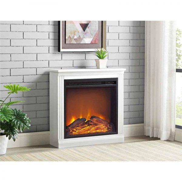 Ameriwood Home Bruxton Simple Fireplace, White 6