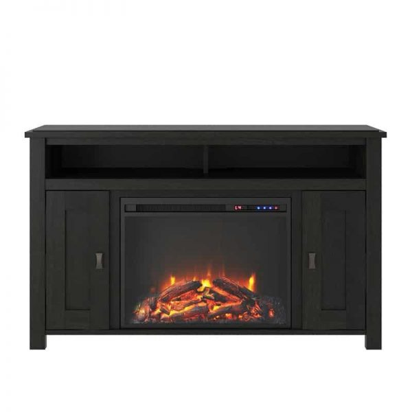 """Ameriwood Home Farmington Electric Fireplace TV Console up to 50"""" in Black Oak 1"""