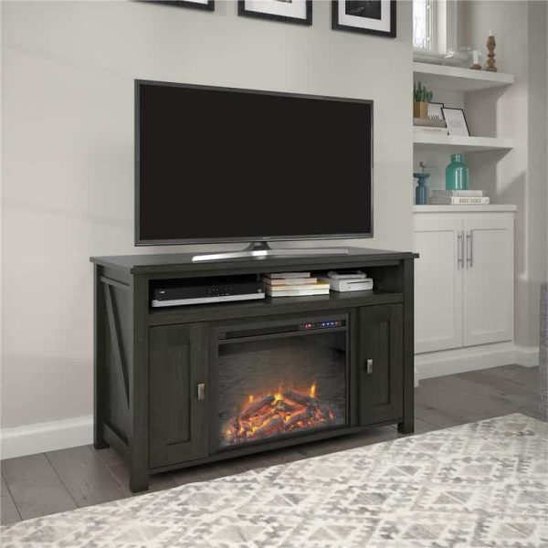 """Ameriwood Home Farmington Electric Fireplace TV Console up to 50"""" in Black Oak 2"""