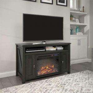 "Ameriwood Home Farmington Electric Fireplace TV Console up to 50"" in Black Oak"