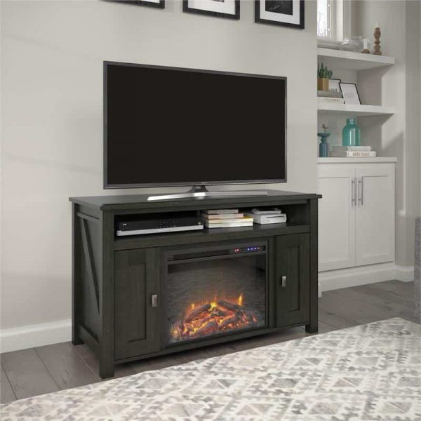 """Ameriwood Home Farmington Electric Fireplace TV Console up to 50"""" in Black Oak"""