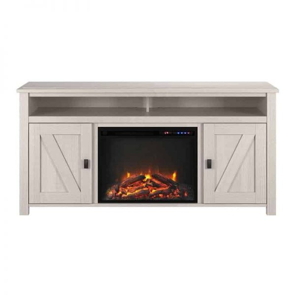 "Ameriwood Home Farmington Electric Fireplace TV Console up to 60"" in Ivory Oak 1"