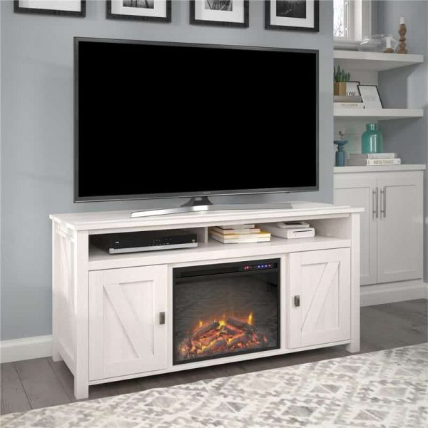 "Ameriwood Home Farmington Electric Fireplace TV Console up to 60"" in Ivory Oak 2"