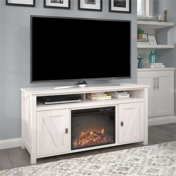 "Ameriwood Home Farmington Electric Fireplace TV Console up to 60"" in Ivory Oak"