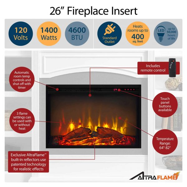 Ameriwood Home Lamont Mantel Fireplace, Black 6