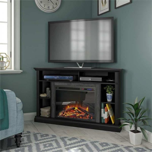 "Ameriwood Home Overland Electric Corner Fireplace up to 50"" in Black"