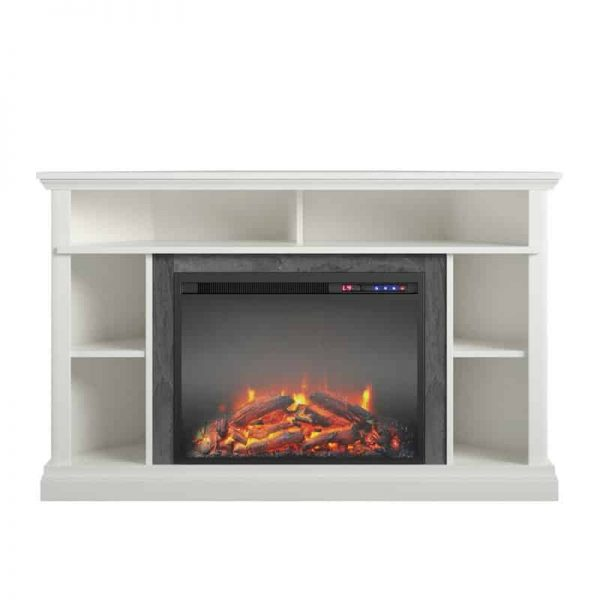 "Ameriwood Home Overland Electric Corner Fireplace up to 50"" in White 1"