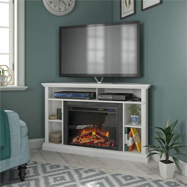 "Ameriwood Home Overland Electric Corner Fireplace up to 50"" in White 2"