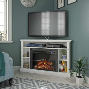 "Ameriwood Home Overland Electric Corner Fireplace up to 50"" in White"