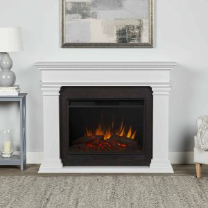 Antero Grand Electric Fireplace in White by Real Flame