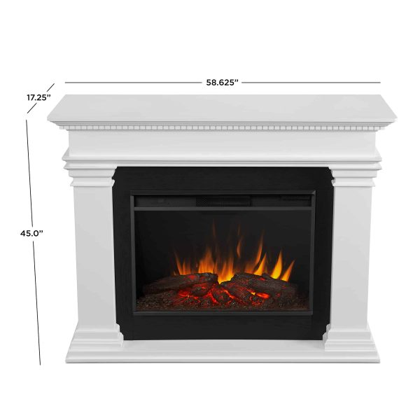 Antero Grand Electric Fireplace in White by Real Flame 4