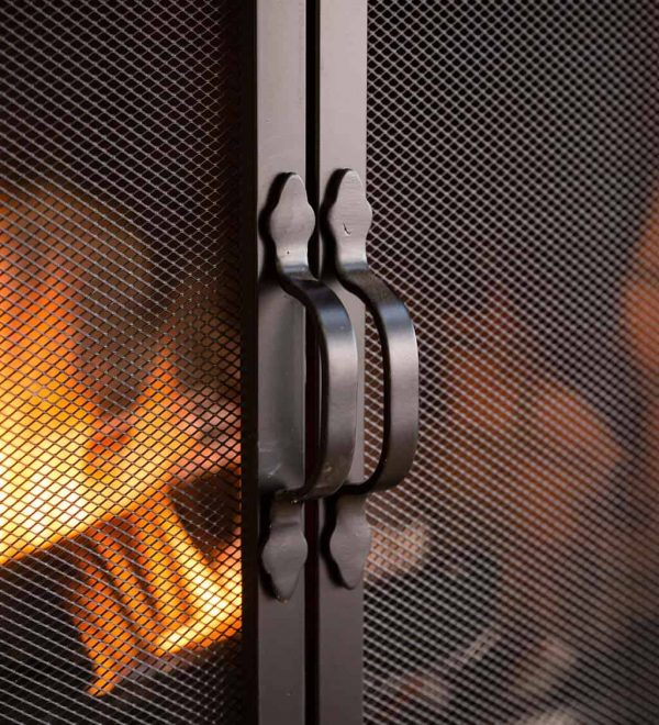 Arched Top Flat Guard Fireplace Fire Screen with Doors 1