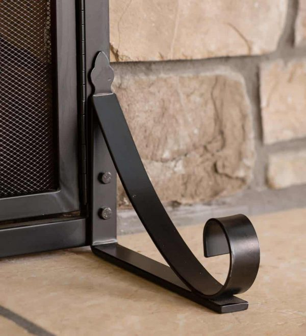 Arched Top Flat Guard Fireplace Fire Screen with Doors 2