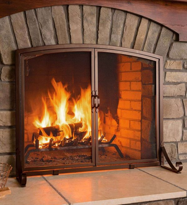 Arched Top Flat Guard Fireplace Fire Screen with Doors