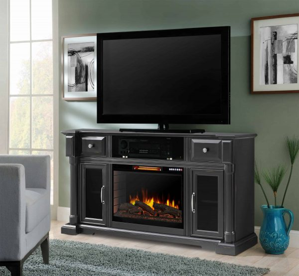 Arlington 60-in Media Electric Fireplace with Bluetooth in Aged Black Finish 1