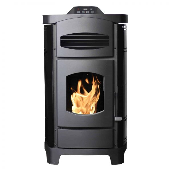 200 Sq. Ft EPA certified Pellet stove with Polished Black Curved sides