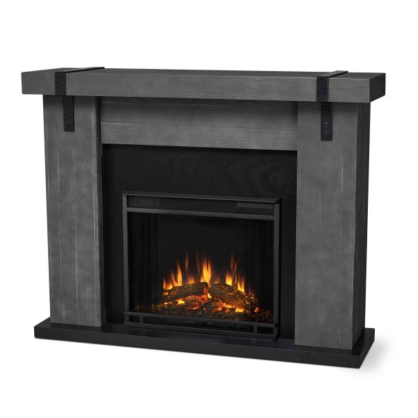Aspen Electric Fireplace in Gray Barnwood by Real Flame 1