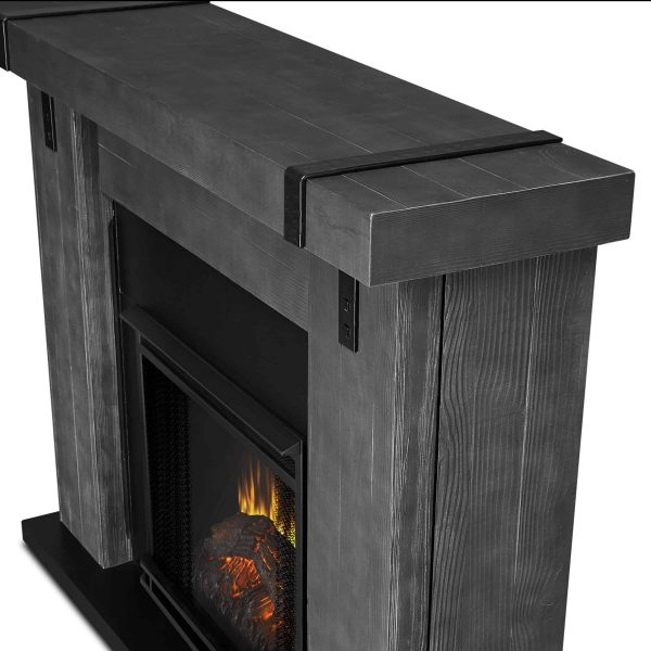 Aspen Electric Fireplace in Gray Barnwood by Real Flame 4