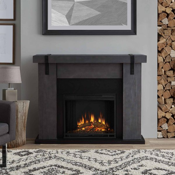 Aspen Electric Fireplace in Gray Barnwood by Real Flame