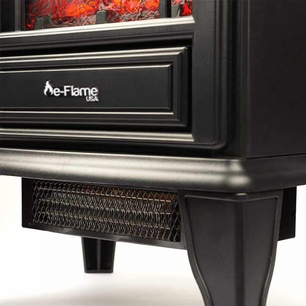 Aspen Free Standing Electric Fireplace Stove by e-Flame USA - Black 1