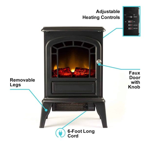 Aspen Free Standing Electric Fireplace Stove by e-Flame USA - Black 2