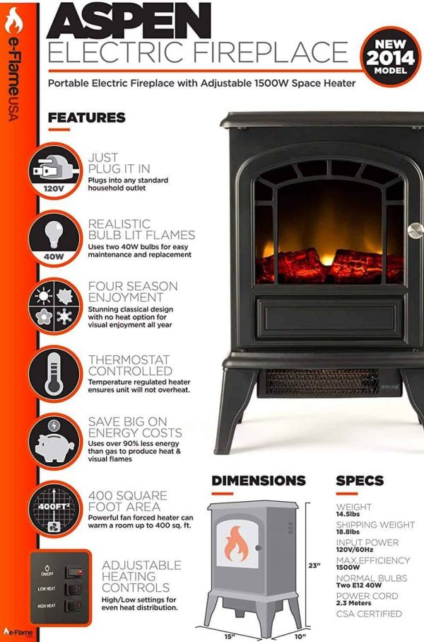 Aspen Free Standing Electric Fireplace Stove by e-Flame USA - Black 3