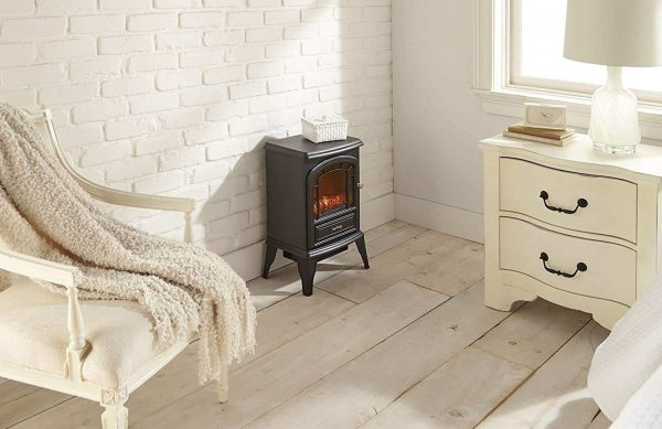 Aspen Free Standing Electric Fireplace Stove by e-Flame USA - Black 4