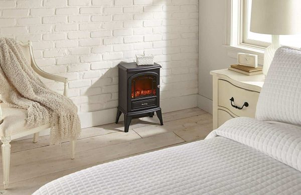 Aspen Free Standing Electric Fireplace Stove by e-Flame USA - Black 5