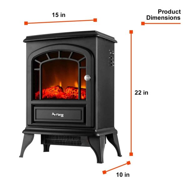 Aspen Free Standing Electric Fireplace Stove by e-Flame USA - Black 7