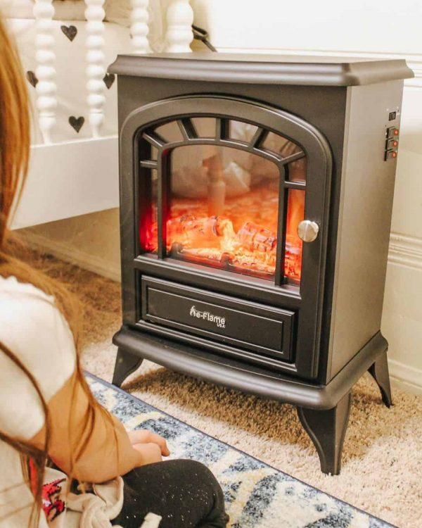 Aspen Free Standing Electric Fireplace Stove by e-Flame USA - Black 9