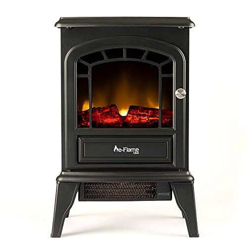 Aspen Free Standing Electric Fireplace Stove by e-Flame USA - Black