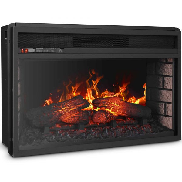 "BELLEZE 26"" Electric Fireplace Insert Heater with Log Hearth Flame and Remote,1400W Black 3"