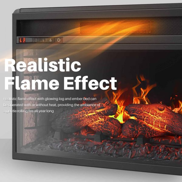 "BELLEZE 26"" Electric Fireplace Insert Heater with Log Hearth Flame and Remote,1400W Black 5"