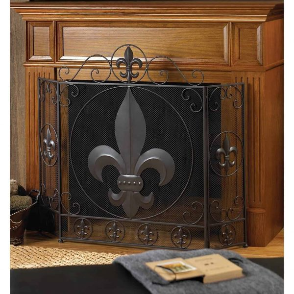 BSD National Supplies Victorian Fleur De Lis Iron Fireplace Screen 1