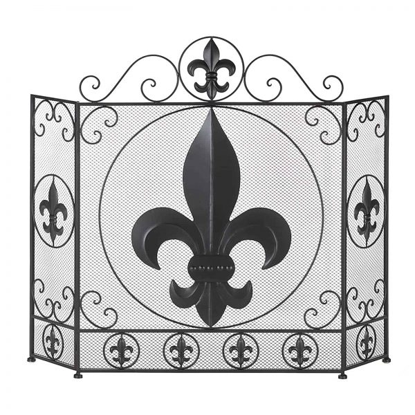 BSD National Supplies Victorian Fleur De Lis Iron Fireplace Screen 2